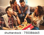 group of young friends eating... | Shutterstock . vector #750386665