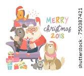 santa claus sitting in armchair ... | Shutterstock .eps vector #750387421