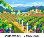 rural landscape with vineyard ... | Shutterstock .eps vector #750393031