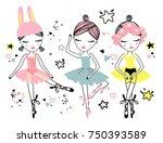 set of three cute ballerina...   Shutterstock .eps vector #750393589