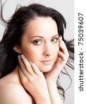beauty portrait of brunette... | Shutterstock . vector #75039607