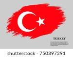 grunge styled flag of turkey.... | Shutterstock .eps vector #750397291
