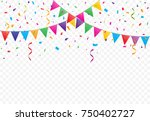 colorful flags with confetti...   Shutterstock .eps vector #750402727