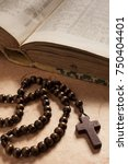 Crucifix Wooden Rosary And Book