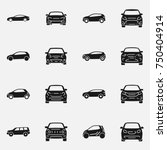 set of various cars front and... | Shutterstock . vector #750404914