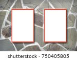 mock up stone wall frame  card  ...   Shutterstock . vector #750405805