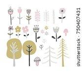 cute hand drawn monochrome... | Shutterstock .eps vector #750407431