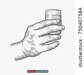 hand holding glass. template... | Shutterstock .eps vector #750407584