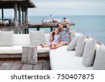 father and daughter relaxing... | Shutterstock . vector #750407875