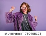 stunning cute girl with curly... | Shutterstock . vector #750408175