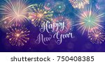 happy new year holiday banner... | Shutterstock .eps vector #750408385