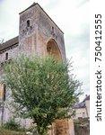 romanic church of saint amand... | Shutterstock . vector #750412555