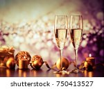 two champagne glasses against... | Shutterstock . vector #750413527