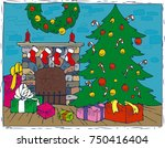 christmas composition with... | Shutterstock .eps vector #750416404