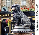 "Small photo of EDINBURGH, UK c. SEPTEMBER 2017: The nose of the famous life size bronze statue of the Skye Terrier, ""Greyfriars Bobby"", is worn and polished after thousands of tourists rub it, supposedly for luck."