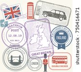 travel stamps set   great... | Shutterstock .eps vector #750416671
