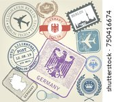 travel stamps set germany and... | Shutterstock .eps vector #750416674