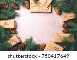 christmas background. craft... | Shutterstock . vector #750417649