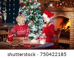 children baking christmas... | Shutterstock . vector #750422185