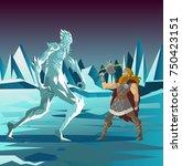 norse mythology thor god of... | Shutterstock .eps vector #750423151