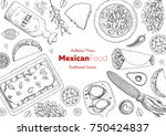 mexican food top view frame. a... | Shutterstock .eps vector #750424837