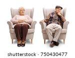 elderly man and an elderly... | Shutterstock . vector #750430477