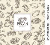 background with pecan  pecan... | Shutterstock .eps vector #750434389