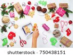 christmas background with gifts ... | Shutterstock . vector #750438151