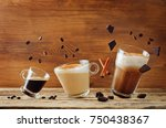 different types of coffee with... | Shutterstock . vector #750438367