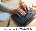 close up of female hands using... | Shutterstock . vector #750440854