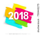 2018 merry christmas and happy...   Shutterstock .eps vector #750443275