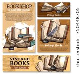 old vintage books sketch poster ... | Shutterstock .eps vector #750448705