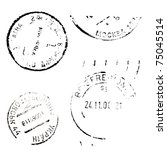 set of postal marks on a white... | Shutterstock . vector #75045514