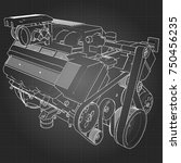 powerful v8 car engine. the... | Shutterstock .eps vector #750456235