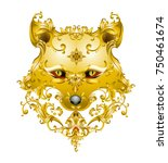 fox mask with victorian metal... | Shutterstock .eps vector #750461674