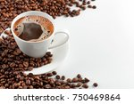 a cup of hot coffee with foam... | Shutterstock . vector #750469864