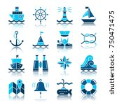 nautical color silhouette with... | Shutterstock .eps vector #750471475