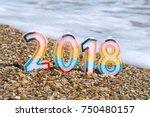 christmas decoration on sea... | Shutterstock . vector #750480157