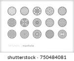 set of 15 minimal metal manhole ... | Shutterstock .eps vector #750484081