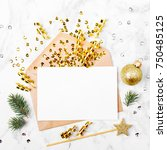 blank card with golden... | Shutterstock . vector #750485125