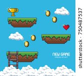 pixelated game scenery icons... | Shutterstock .eps vector #750487537