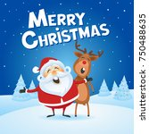 santa claus celebrating with... | Shutterstock .eps vector #750488635