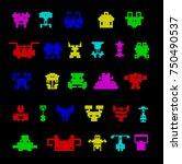 vector pixel art logo concept... | Shutterstock .eps vector #750490537