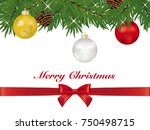 christmas ball ornaments on... | Shutterstock .eps vector #750498715