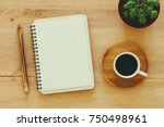 top view image of open notebook ... | Shutterstock . vector #750498961