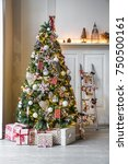 new year green tree decorated... | Shutterstock . vector #750500161