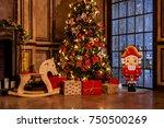 christmas decoration in grunge... | Shutterstock . vector #750500269