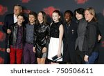 Small photo of Ted Sarandos, Noah Schnapp, Gaten Matarazzo, Millie Bobby Brown, Sadie Sink, Caleb McLaughlin and Finn Wolfhard at the Netflix's season 2 premiere of 'Stranger Things' held in USA on October 26, 2017.