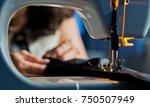 sew machine . fabric    Shutterstock . vector #750507949