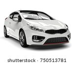 Stock photo sublime white modern electric car front view closeup shot d illustration 750513781